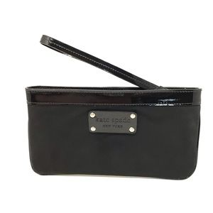 Nylon & Patent Leather Wristlet Polka Dot Lined